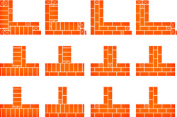 Схема многорядной кладки в 1,5 кирпича