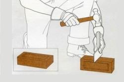 Схема проверки качества кирпича путем его раскалывания