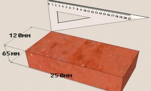 Схема размеров красного облицовочного кирпича