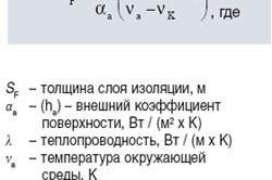 Формула определения толщины теплоизоляции