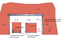 Схема усиления проема в несущей стене с подведением перемычки из швеллеров