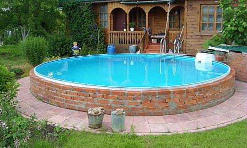 Каркасный бассейн из кирпича