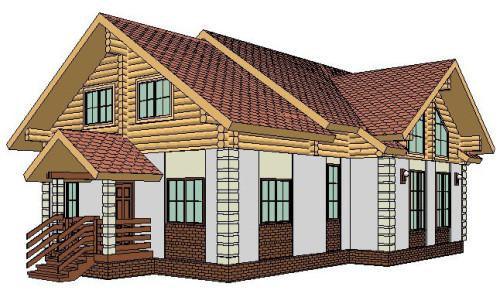 Комбинированный дом из дерева и камня