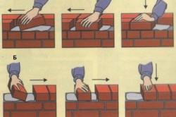 Последовательность действий при кладке кирпича