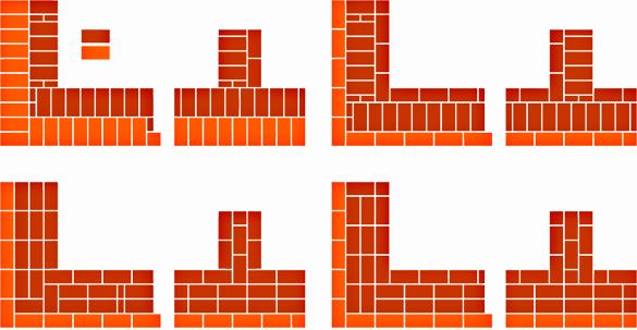 Схема кладки в один кирпич 95