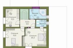 Схема дома из пеноблоков: план второго этажа (мансарда)