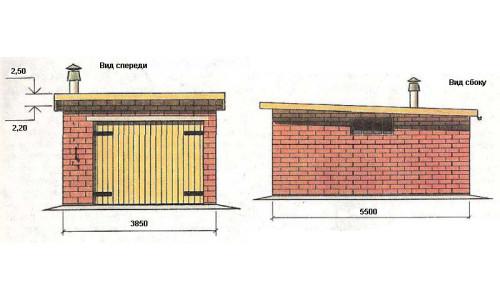 Схема гаража из кирпича