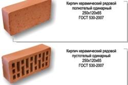 Общий вид полнотелого и пустотелого керамического кирпича