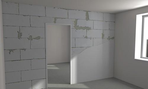 Межкомнатная стена из пеноблоков