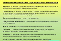 Механические характеристики строительных материалов