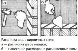 Расшивка швов кирпичных стен