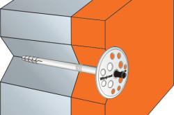 Схема крепления пенополистирола к стене дюбелями